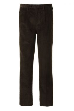 Mens Country Cord Trousers Pleated Dark Chocolate