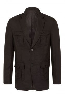 Mens Linen Safari Blazer Black (A015)
