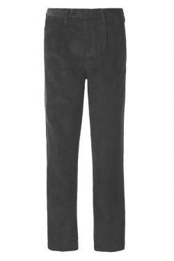 Mens Country Cord Trousers Pleated Black