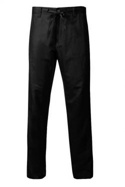 Trousers Linen Drawstring Black Summer Special