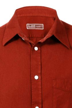 Fine Cotton Twill Shirt Burnt Orange